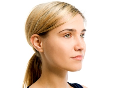 Portrait of the beautiful woman. Looking to the right side. Face without cosmetic Stock Photo - 9726440
