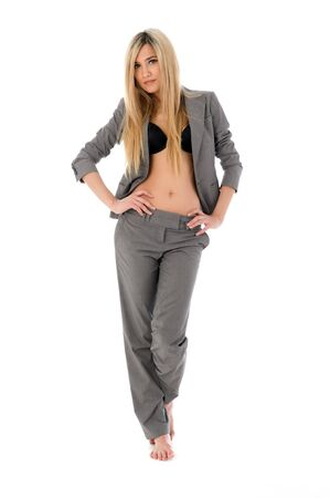 Portrait of the beautiful blonde in grey costume Stock Photo - 9990672