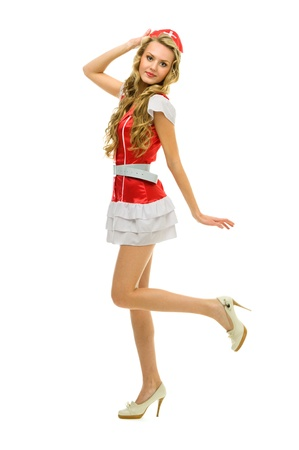 woman in fansy nurse shape. Halloween and Christmas theme. Isolated image photo