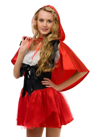 woman in fansy costume. Little Red Riding Hood shape.Halloween and Christmas theme. Isolated image photo