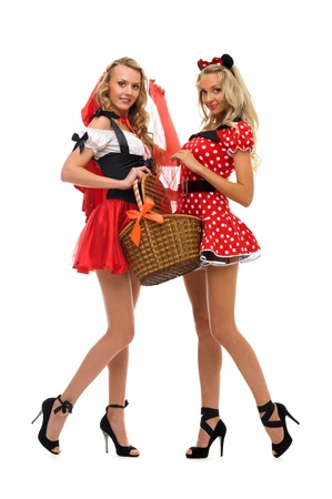 woman in fansy costume. Little Red Riding Hood shape and kitty shape.Halloween and Christmas theme. Isolated image