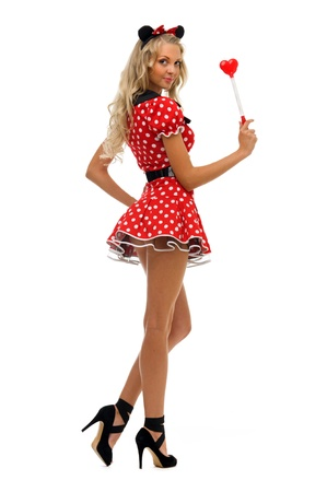 woman in fansy costume. kitty shape.Halloween and Christmas theme. Isolated image Stock Photo - 10647627