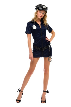 woman in fansy costume. Police woman shape. Halloween and Christmas fancy theme. Isolated image photo