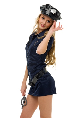 woman in fansy costume. Police woman shape. Halloween and Christmas fancy theme. Isolated image Stock Photo - 10647636