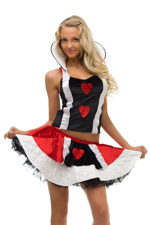 woman in fansy costume. Maid shape. Halloween and Christmas fancy theme. Isolated image photo