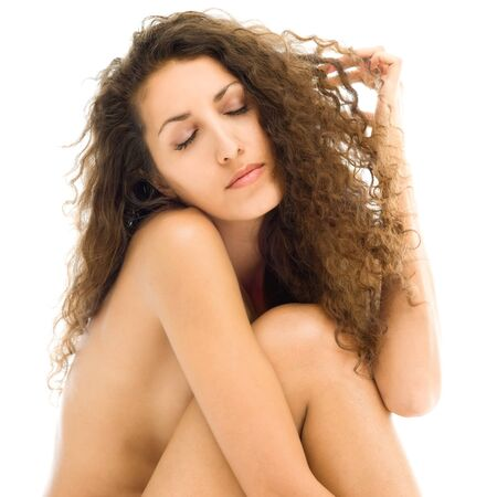 Portrait of the beautiful naked woman in sad mood Stock Photo - 10800465