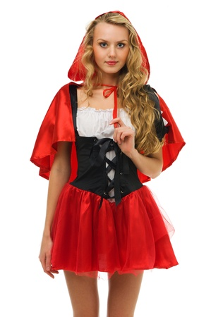 Beautiful woman in carnival costume.   Little Red Riding Hood shape. Isolated image Stock Photo - 10800478