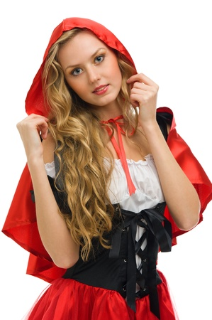 Beautiful woman in carnival costume.   Little Red Riding Hood shape. Isolated image photo