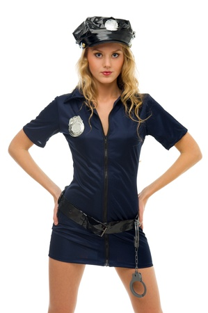 woman in carnival costume.  Police woman shape. Isolated image Stock Photo