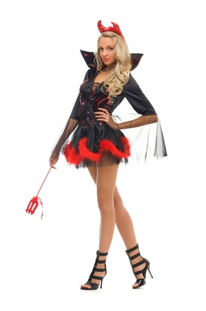 woman in carnival costume.  Devil shape. Isolated image photo