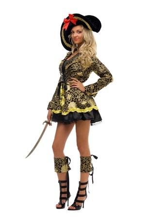 mujer pirata: Mujer en traje de carnaval. Forma de pirata. Imagen aislado