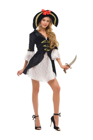 Beautiful woman in carnival costume. Pirate shape. Isolated image photo