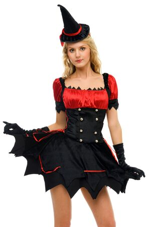 Beautiful woman in carnival costume.  Witch shape. Isolated image photo