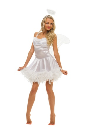 Beautiful woman in carnival costume.  Angel  shape. Isolated image photo