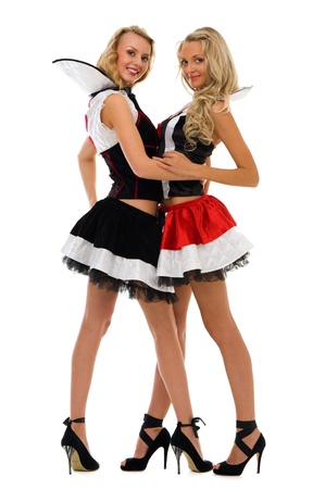 Two beautiful women in carnival costumes. Domino shape. Isolated image photo
