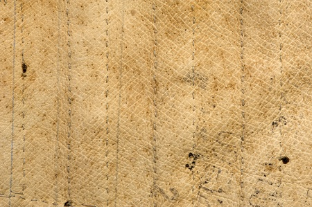 Texture and background. Antique beige stitched leather.