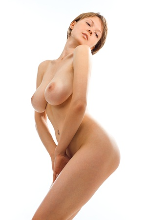 Naked beautiful woman with big breast. Isolated image. Stock Photo - 11172144