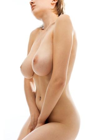 Голая красивая женщина с большой грудью. Изолированные изображение.