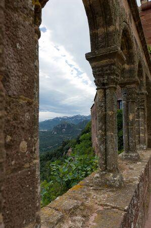 sant: Monastery Sant Miquel DEscornalbou in Spain. Mountain view