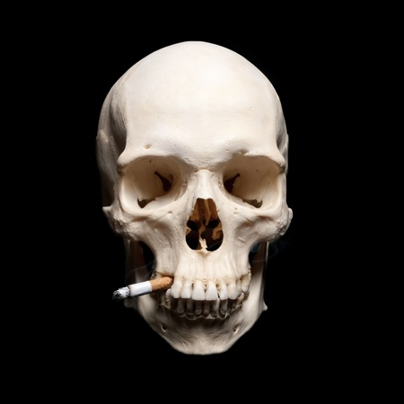 Symbol of the dangers of smoking. Human scull with cigarette photo
