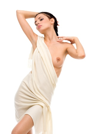 breast beauty: Beautiful naked woman in a white drape. Isolated image Stock Photo