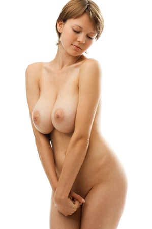 Naked beautiful woman with big breast. Isolated image.