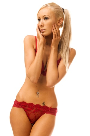 sexy nude blonde: Torso portrait of the beautiful woman in red underwear