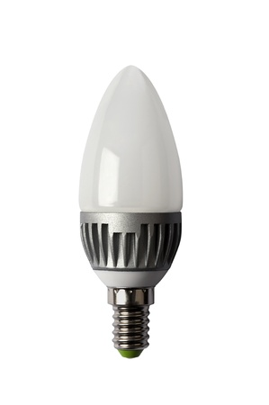 diode: LED energy safing bulb. Light-emitting diode. Isolated object