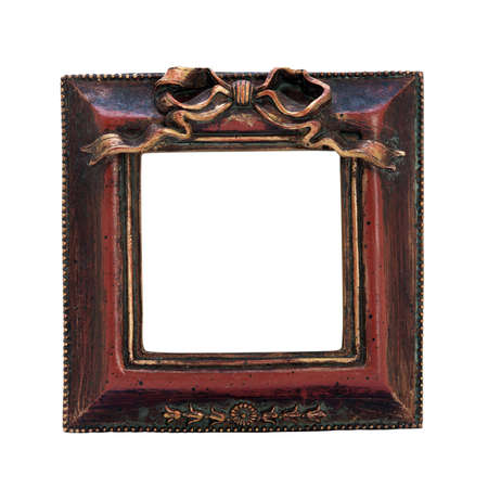 adjective: Old antique ornate frame with white background. Isolated image. Stock Photo