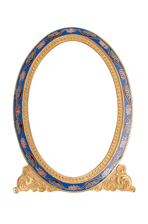 Old antique ornate frame with white background. Isolated image. Stock Photo