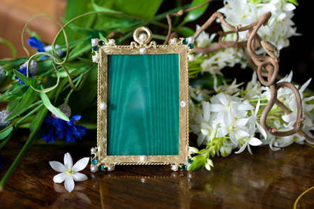 Still life with antique ornate frame. Stock Photo - 12440233