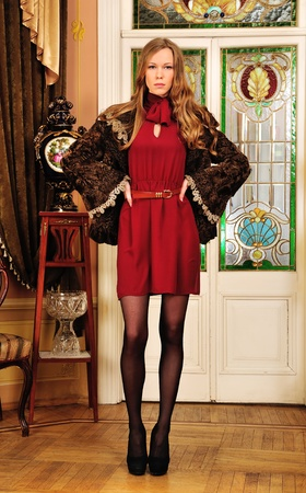 fine legs: Portrait of the beautiful woman in fur coat. The luxurious classical interior.
