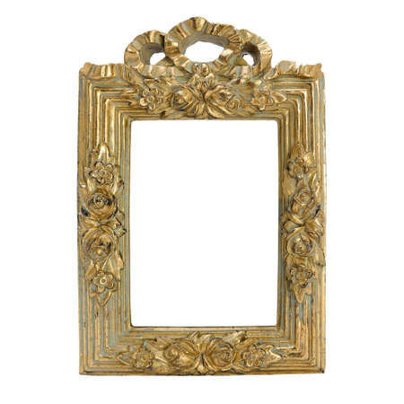 antique frame with womans portrait . Isolated image. photo