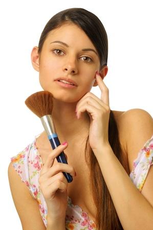 semi dress: Portrait of the beautiful woman with making-up brush.