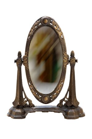 noun: Oval antique frame. Isolated image.