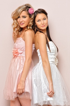 voluptuous women: Portrait of the two beautiful woman in chic dresses. Stock Photo