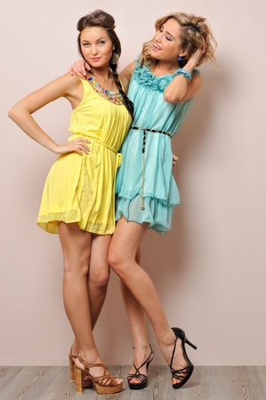 short: Two beautiful women in summer dresses. Studio  portrait.