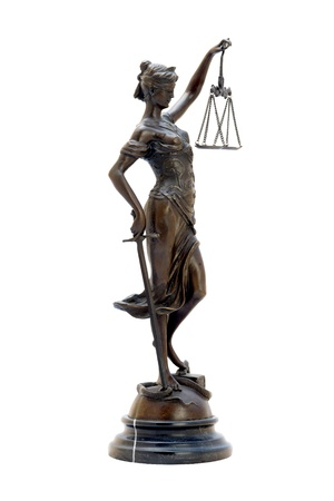 antique scales: antique bronze statuette of the goddess Themis. Isolated image.