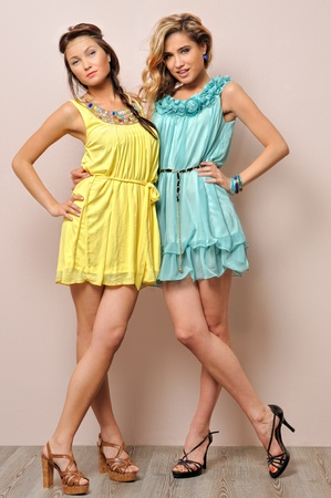 Two beautiful women in summer dresses. Studio  portrait. photo