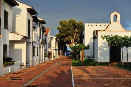 spanish landscapes: The court yard of the spanish houses in Alcossebre, Spain