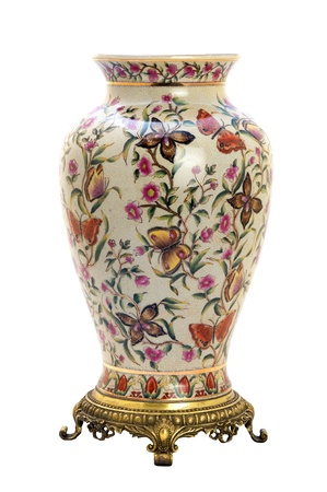 antique vase: Antique porcelain jar in modern style. Isolated image.