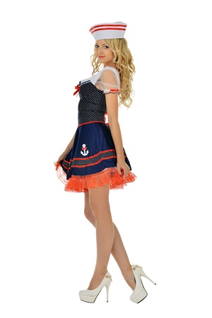 sailor girl: Beautiful blonde woman in masquerade seaman costume  Isolated image  Stock Photo