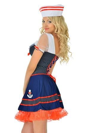 Beautiful blonde woman in masquerade seaman costume  Isolated image  photo