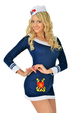 Beautiful blonde woman in masquerade seaman costume  Isolated image  photo