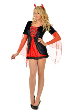 Beautiful blonde woman in carnival costume of devil  Isolated image  Stock Photo - 15626705