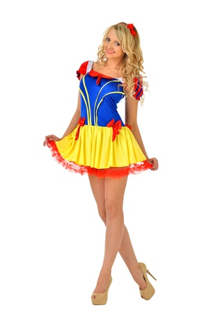 fancy dress: Beautiful blonde woman in masquerade snow white dress  Isolated image