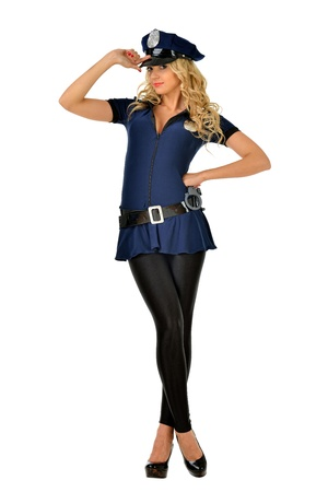 Beautiful blonde woman in mascarade costume of policeman  Isolated image  photo