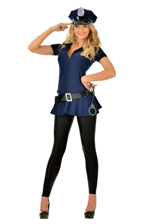 Beautiful blonde woman in masquerade costume of policeman  Isolated image  photo