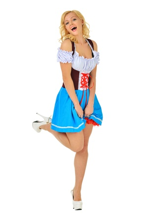sexy halloween: Beautiful blonde woman in masquerade snow white costume  Isolated image