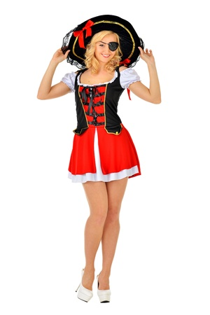 mujer pirata: Hermosa mujer rubia en traje de mascarada pirata imagen aislada